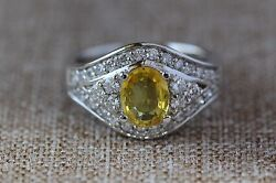 1.85 Tcw Natural Yellow Sapphire And Diamond In 14k Solid White Gold Women Ring