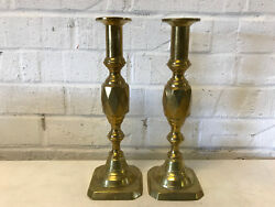 Antique Brass Pair Of Candle Holders Candle Sticks W/ Diamond Form Decoration