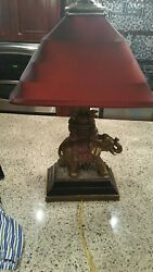 Vintage Very Detailed And Exquisitly Constructed Elephant Lamp In Resinbronze