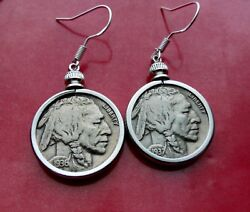 Pair Of 1930and039s Usa Buffalo Nickel Coin Earrings On Sterling Silver French Hooks