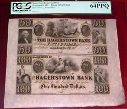 19th Century Hagerstown, Maryland 50 And 100 Bank Note Uncut Pair Pcgs 64 Ppq