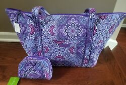 Vera Bradley Miller Travel Bag  PLUS Small Zip Cosmetic in Lilac Tapestry - NWT