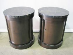 1960and039s Pair Vintage Baker Furniture Drum Style End Tables With Marble Tops Mint
