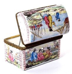 Antique Kiln-fired Enamel Box, Large And Superb. Sea And Ships 1700s Themes