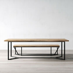 London Solid Live Edge Oak Industrial Dining Table Wooden Rustic