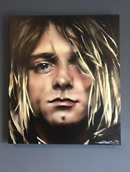Large Limited Edition Signed Canvas Print By Temper Aaron Bird Of Kurt Cobain