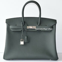 Hermes Birkin 35cm Vert Fonce Forest Green Togo Leather Palladium Silver bag NEW