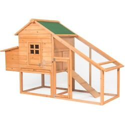 Backyard Wooden Chicken Coop Poultry Nest Box Hen House Cage Fenced Run Area