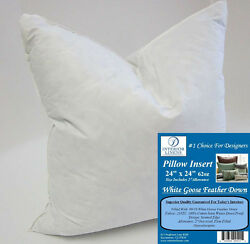 4 Total - 24 Pillow Insert 62oz. White Goose Down - 2 Oversized And Firm Filled