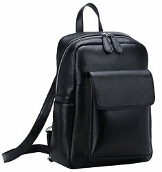 Heshe Womens Leather Backpack Casual Daypack for Ladies and Girls Black