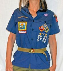 Uniform Shirt With Patches And A Belt Boy Scouts Of America Youth Large 14 16