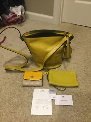 Coach Legacy Saffron Soft Leather Mini Bucket Duffle Convertible Shoulder Bag