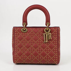 NWT CHRISTIAN DIOR 'Lady Dior' Red Leather W Attachable Strap Shoulder Bag