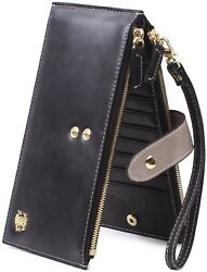 Borgasets Leather Wallet Wristlet RFID Credit Card ID Holder with Strap for