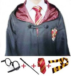 Harry Potter Gryffindor Cosplay With Robe, Wand, Glasses, Tie And Scarf Mult.siz