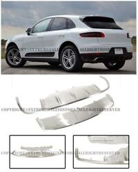 Front Rear Skid Plate Sliver Steel Protector Trim Guard For 15-18 Porsche Macan
