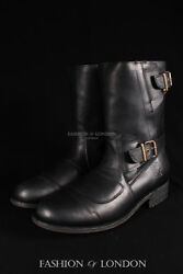 Menand039s Grinders Route 66 Black Biker Motorcycle Cowboy Mid-calf Leather Boots