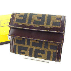 Fendi Wallet Purse Trifold Zucca Green Black Woman Authentic Used Y3517