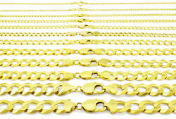 10k Yellow Gold Solid 2mm-12.5mm Cuban Curb Chain Link Pendant Necklace 16- 30