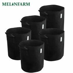 MELONFARM 5-Pack 3 Gallon Grow Plant Bags Thickened Non-woven Smart Aeration Pot
