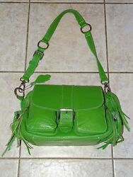 """Roots Canada """"EMILY"""" Apple GREEN Leather SHOULDER Crossbody Bag Purse VGUC"""