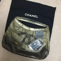 USED CHANEL rare gold bag regular price 500000 little free shipping Japan woman