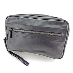 Dunhill Clutch bag Black Black Mens Authentic Used S566