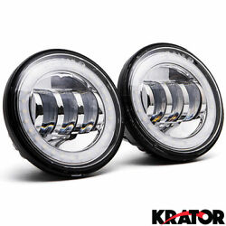 2x 4.5 Round Led Auxiliary Passing Spot Fog Light Lamp For Harley Motorcycle