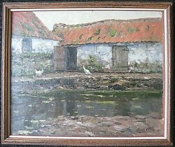 Flemish Louis Lieven Theophile Clesse Post Impressionist Farmhouse Hens By Pond