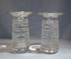 Rare Steuben Pair Of Tall Crystal Glass And039celebrationand039 Candlestick Circa 1997