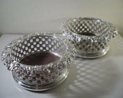 Pair Of Ornately Decorated Silver Plated Wine Bottle Coasters Birmingham C1850
