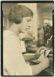 Lewis Hine Sewing, Garment Worker, 1930 / Vintage / Stamped And Titled / Lh049