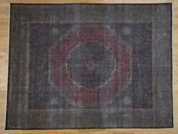 9and0396x13and03910 Vintage Look Mamluk Zero Pile Shaved Low Worn Wool Rug G41326