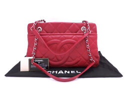 Chanel Matelasse Chain Shoulder Hand Bag Purse Caviar Skin A67294 Women Red Auth