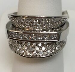 18k White Gold Diamond Ring D1.35CT FGVS  Made In Italy