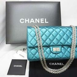 CHANEL Matelasse Chain Shoulder Bag Pouch Purse Metallic Blue Woman Luxury Rare