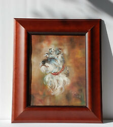 Terrier portrait by Maggie Wintle signed original oil on canvas