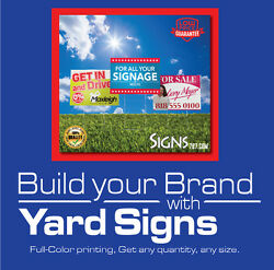 10-18x24 Yard Sign Custom Double Side Print Full Color + Metal Stakes