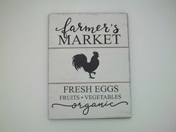 Vintage Rustic Farmer's Market Fresh Eggs White Chicken Wall Hanging Sign #434