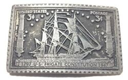 USS Constitution Frigate Belt Buckle US Postage Stamp Style 1797-1947 A2-P
