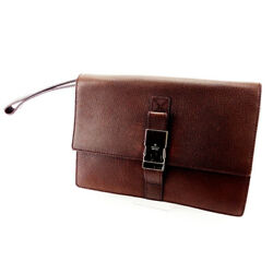 Gucci Clutch bag Brown Silver Woman unisex Authentic Used T2228