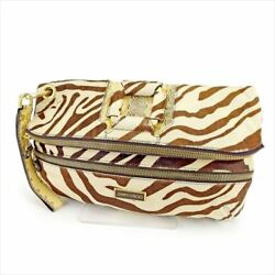 Jimmy Choo Clutch bag Beige Brown Woman Authentic Used T5601