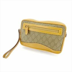 Gucci Clutch bag GG Beige Brown Woman unisex Authentic Used T5550