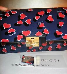 Gucci Shanghai Heartbeat Print Leather Clutch Navy amp; Red 11quot;x 6quot;x 1.5quot; NWT $695.00
