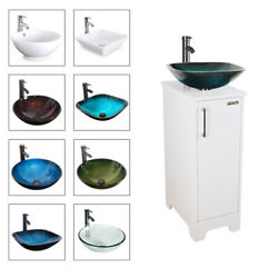 14 White Bathroom Vanity Cabinet Vessel Glass Ceramic Sink W/faucet Drain Combo