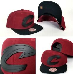 Mitchell And Ness Cleveland Cavaliers Burgundy / Black Metal Logo Snapback Hat Cap