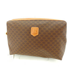 Celine Clutch bag Second bag Macadam Brown Woman Authentic Used F1088