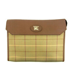 Burberry Clutch bag Beige Green Woman Authentic Used Y3988