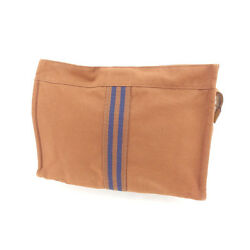 Hermes Clutch bag Fourre Tout Brown Navy Woman Authentic Used L895