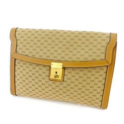 Gucci Clutch bag Beige Brown Woman unisex Authentic Used T5304